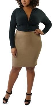 Marée Pour Toi Plus Size Faux-Suede Pencil Skirt