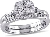 Julie Leah 1/2 CT TW Diamond 10K White Gold 2-Piece Halo Cluster Bridal Set