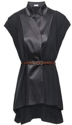 Brunello Cucinelli Belted Bead-embellished Silk-crepe And Satin Top