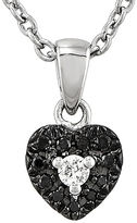 FINE JEWELRY 1/10 CT. T.W. White and Color-Enhanced Black Diamond Sterling Silver Heart Pendant Necklace