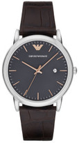 Emporio Armani Swiss Luigi Leather Dark Brown Watch