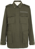 Valentino Studded Cotton-gabardine Jacket - Army green