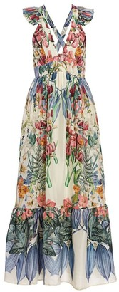 Carolina K. Penelope Floral-Print Silk Dress
