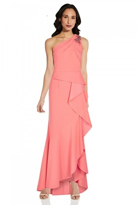 Adrianna Papell One Shoulder Crepe Gown In Coral Punch