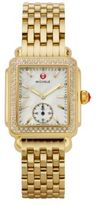 Michele Deco 16 Diamond, Mother-Of-Pearl & 18K Goldplated Stainless Steel Bracelet Watch