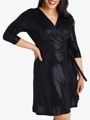 Yumi Curves Wrap Sequin Dress, Black