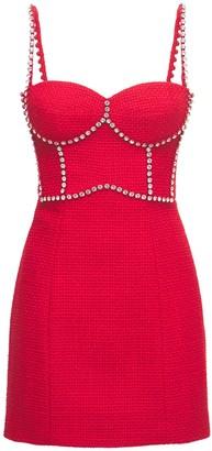 Area Embellished Tweed Bustier Mini Dress