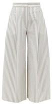 Vika Gazinskaya Wide-leg Cotton-blend Seersucker Suit Trousers - Womens - Blue Stripe