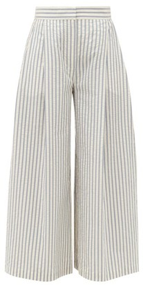 Vika Gazinskaya Wide-leg Cotton-blend Seersucker Suit Trousers - Blue Stripe