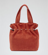 Reiss Cassius Suede And Metal Tote