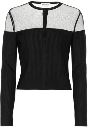 Alexander McQueen Silk and ribbed-knit cardigan