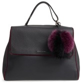 Orciani Large Sveva Soft Leather Top Handle Satchel With Genuine Fur Bag Charm - Red