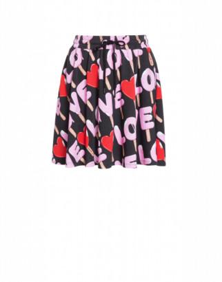 Love Moschino Fleece Mini Skirt Ice Cream Woman Black Size 38 It - (4 Us)