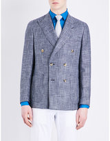 Richard James Check-pattern Wool And Linen-blend Jacket