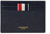 Thom Browne Striped Pebble-grain Leather Cardholder - Navy