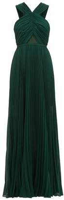Self-Portrait Self Portrait Halterneck Pleated Chiffon Maxi Dress - Womens - Dark Green