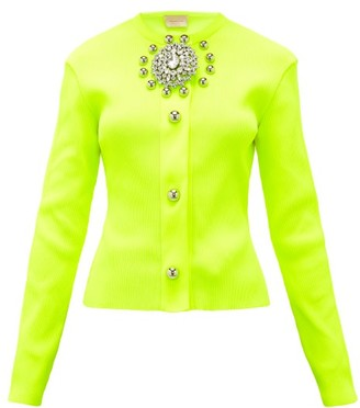 Christopher Kane Crystal-embellished Ribbed-jersey Cardigan - Womens - Yellow