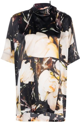 Paul Smith Floral Funnel-Neck Silk Top