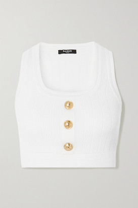 Balmain Cropped Button-embellished Ribbed-knit Top - White