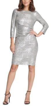 Vince Camuto 3/4-Sleeve Metallic Bodycon Dress