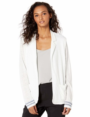 Majestic Filatures Women's Linen Long Sleeve Open Blazer with Bottom Stripe