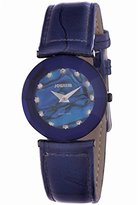 Jowissa Women's J5.211.M Crystal Black PVD Coated Stainless Steel Mother-Of-Pearl Dial Blue Leather Watch
