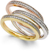 Macy's Tri-Tone Diamond Three-Band Set (1/4 ct. t.w.) in 14K Gold over Sterling Silver