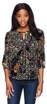 Daniel Rainn Women's 3/4 Sleeve Floral Velvet Burnout Print Blouse Top
