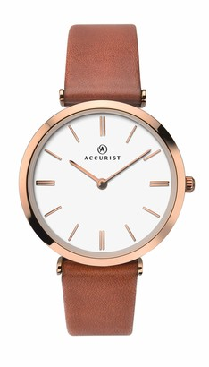 Accurist Womens Analogue Classic Quartz Watch with Leather Strap 8185.01