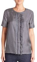 Max Mara Fuxia Check-Print Silk Top
