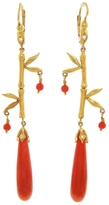 Cathy Waterman Coral Breaulette Bamboo Earrings