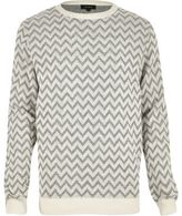 River Island Grey Zig Zag Knitted Jumper