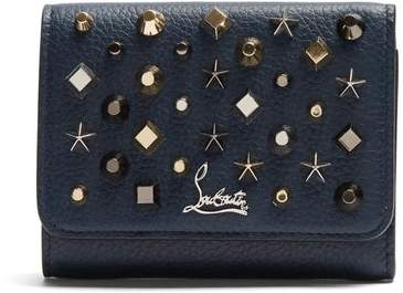 Christian Louboutin Macaron Tri Fold Embellished Leather Wallet - Womens - Blue Multi