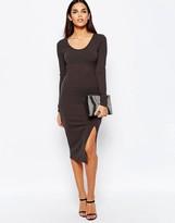Club L Essentials Ribbed Midi Dress With Side Splits