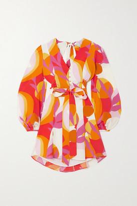 Rebecca Vallance Paradise Open-back Belted Printed Silk Mini Dress - Mustard