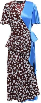 Anna October Satin-paneled Floral-print Crepe De Chine Midi Wrap Dress
