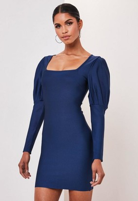 Missguided Premium Blue Bandage Puff Sleeve Mini Dress