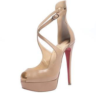 Christian Louboutin Beige Leather Marlenalta Platform Ankle Strap Sandals Size 37.5