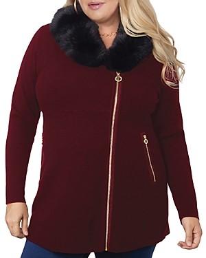 Belldini Plus Faux-Fur Collared Asymmetric Coat