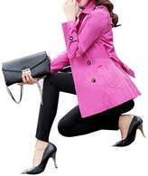 Maygarden Womens Stylish Double Breasted Button Long Trench Coats Jacket Surcoat