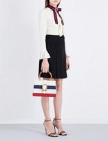 Gucci Grosgrain-trim flared crepe dress