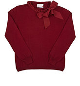 Lanvin GROSGRAIN-BOW PULLOVER SWEATER-BURGUNDY SIZE 12
