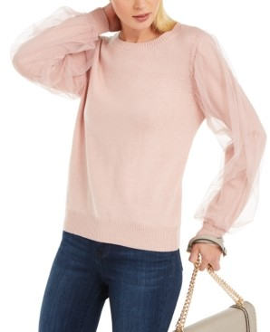 INC International Concepts Inc Tulle-Sleeve Sweater, Created for Macy's
