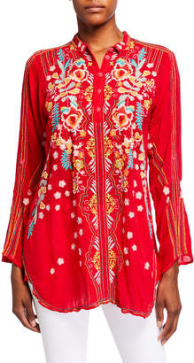 Johnny Was Lyndsey Multi Embroidered Long-Sleeve Collared Tunic
