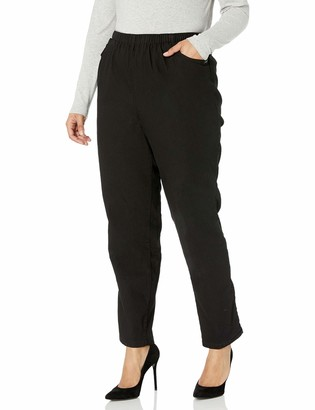 Chic Classic Collection Women's Plus Size Cotton Pull-on Pant with Elastic Waist