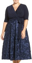 Alex Evenings Tea Length Jersey & Rosette Lace Dress