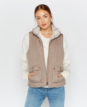 Thread and Supply Thread Supply Reversible Quilted and Sherpa Lined Vest