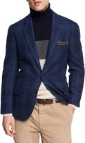 Brunello Cucinelli Glen Plaid Wool-Cotton Sport Coat, Dark Blue