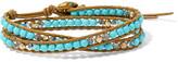 Chan Luu Leather, Gold-tone, Turquoise And Swarovski Crystal Wrap Bracelet