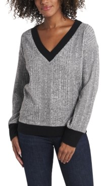 Vince Camuto Women's Long Sleeve Brushed Rib V-Neck Top